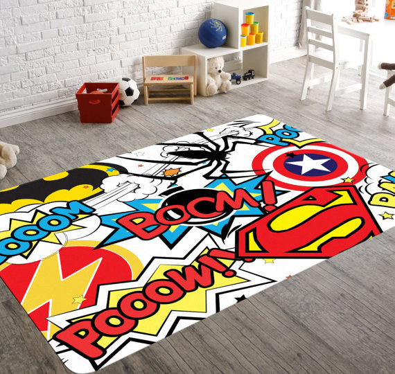 This Strikingly Colorful Rug Will Make Any Superhero Room.