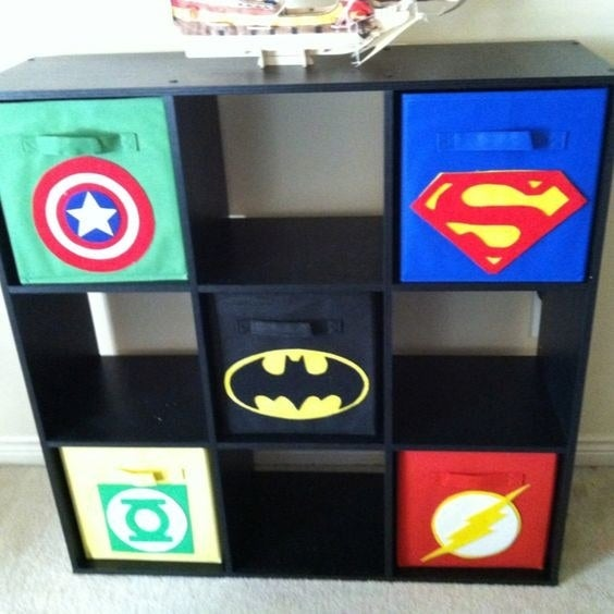 You can DIY your own with a glue gun or buy the Superman one on Amazon for $5.17. Also, if you scroll down on that link's page you will find Batman, Spiderman, and other superhero-themed storage boxes.