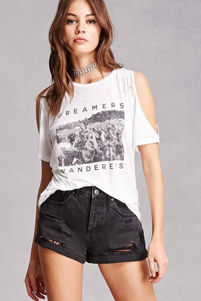 5481e4f9026 A shirt combining the flirtiness of a cold shoulder with the coolness of a  graphic tee. forever21.com