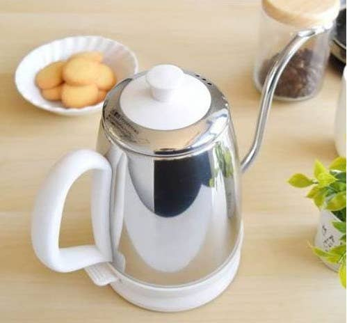 コーヒーポット 細口 電気湯沸かしケトル ステンレス 1L アイボリー