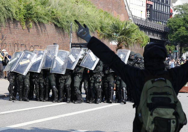 Raucous protests in Hamburg, Germany against world leaders meeting there for the first day of the G20 summit continued on Friday, with police deploying water cannons and demonstrators using gas for a second day in a row.