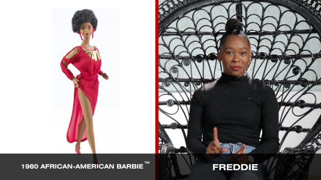 And for her Barbie transformation, Freddie chose 1980 African-American Barbie, since this was the first black doll in the Barbie universe was named Barbie, and wasn't just a sidekick or a friend.