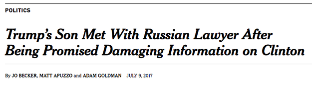 "Trump Jr. initially told the New York Times on Saturday that the conversation with Natalia Veselnitskaya was focused on ""a program about the adoption of Russian children."" In a second story, the Times reported that Trump Jr. ""was promised damaging information about Hillary Clinton"" as part of the meeting. Much of what actually happened in the meeting is still unclear."