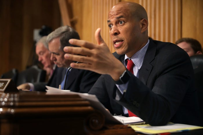 Sen. Cory Booker during a hearing in April on Capitol Hill.