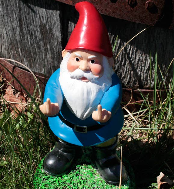 """Whether on your desk or in your yard, the tiny creature will shut down the crap in the biggest way. Promising Review: """"This is a very nice little gnome that conveys my appreciation for my neighbors precisely. I only wish that this was available in a much larger size so I could extend the greetings to a larger audience!"""" —Tony V Get it from Amazon for $18.98 or 203 Brands for $24.99."""