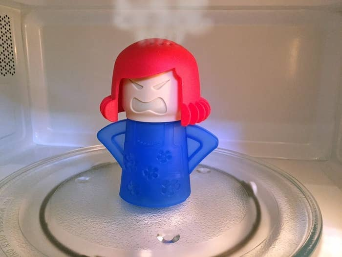 "Promising Review: ""Angry Mama makes cleaning the microwave fun. Yes, you could just put a bowl of vinegar water in there, and get the same effect but what fun is that? Cleaning is a chore that HAS to be done, so you might as well get a chuckle out of it if you can! I gave one to my family and friends for Christmas, and they all laughed, and said they'd have more fun cleaning the microwave now!"" —Auntie LouGet it from Amazon for $4.50."
