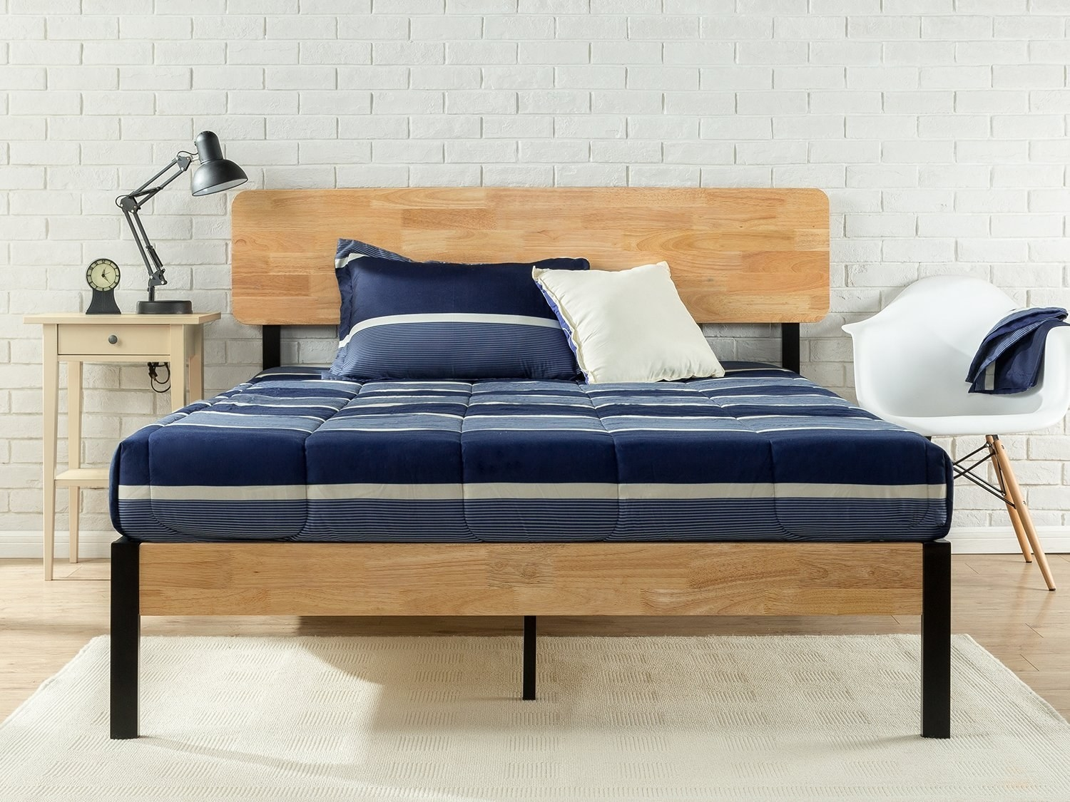 front view of the wood and metal bed frame