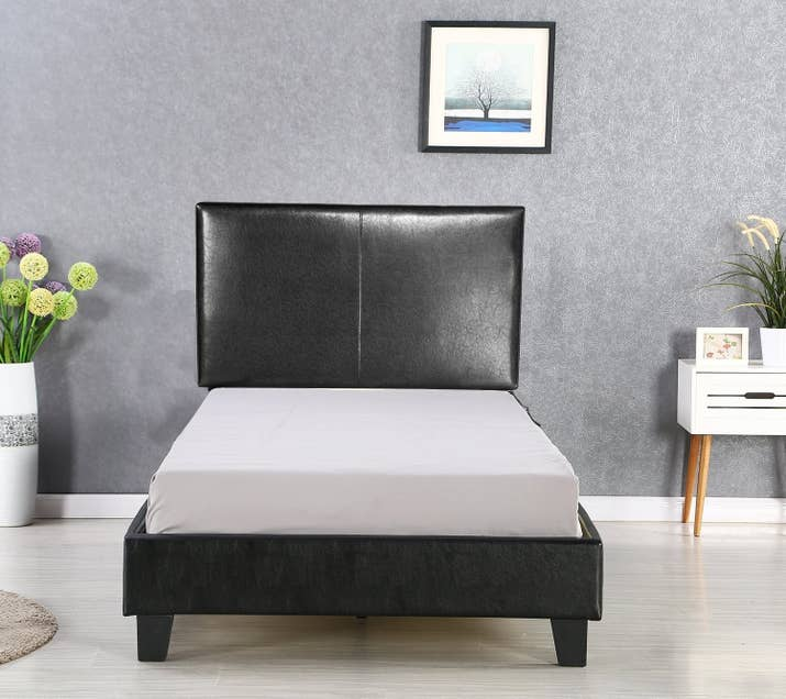 24  A twin sized option for faux leather upholstering in case you need big  statements in a small space. 27 Of The Best Bed Frames You Can Get On Amazon