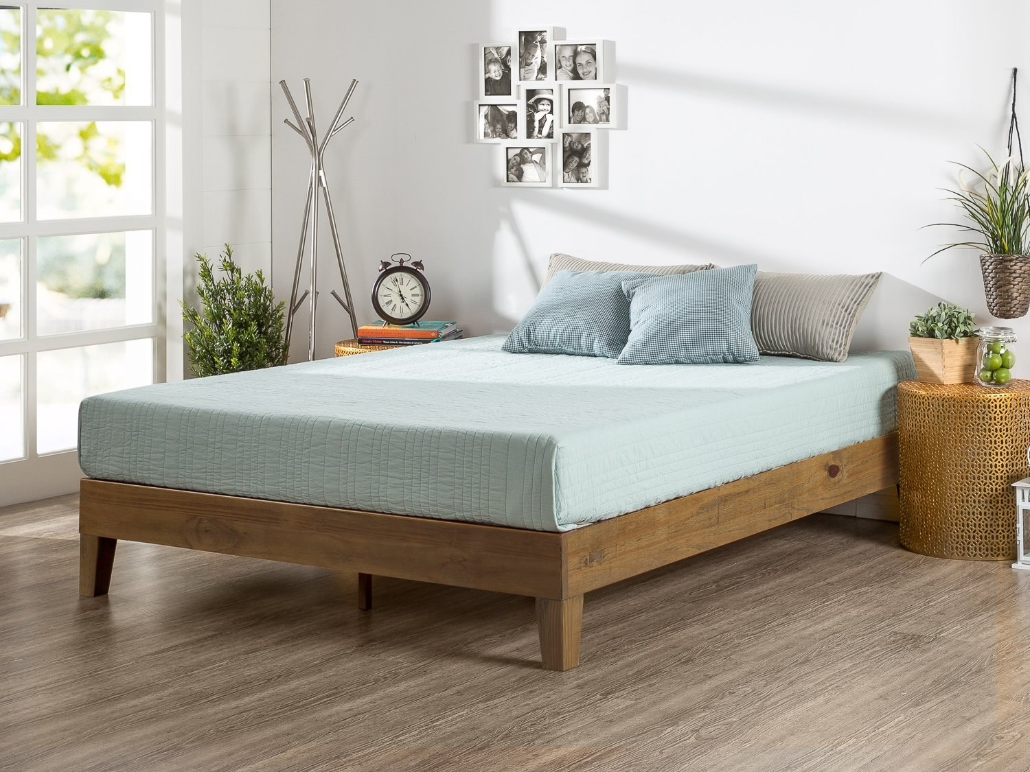 side view of the wooden bed frame