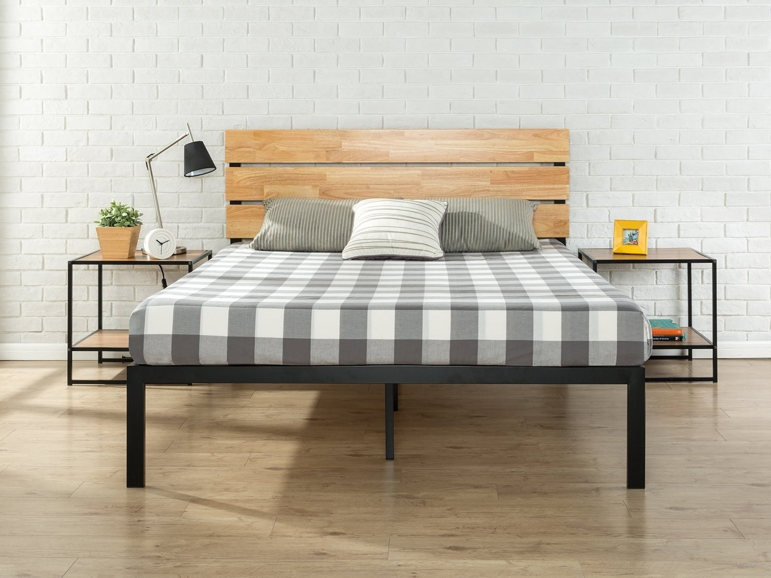front view of the metal and wood bed frame