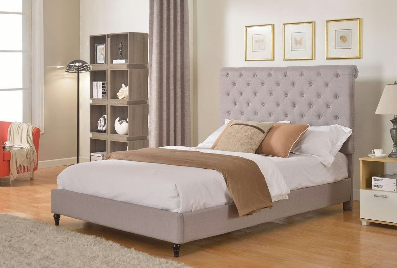 side view of the tufted upholstered bed frame