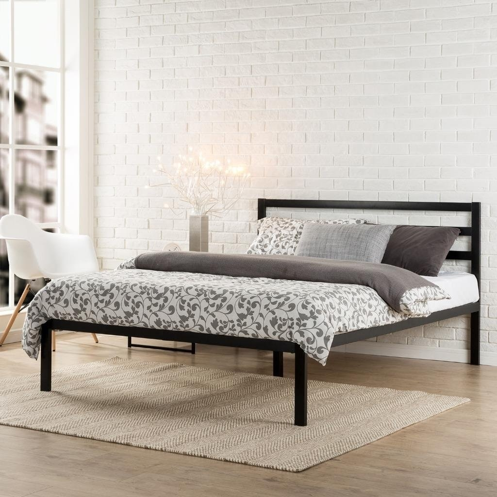 side view of the black bed frame