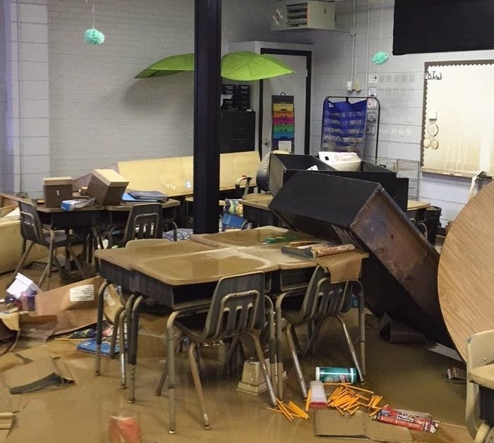 A flood-damaged school in Livingston Parish. A school district staffer took the photo during an initial damage assessment of impacted sites.