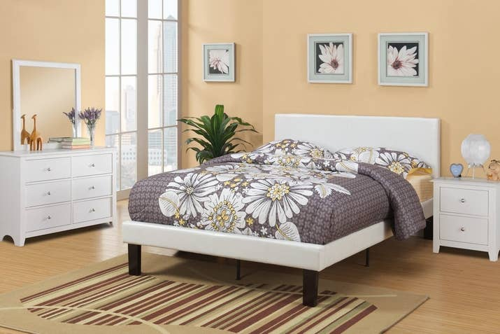 1 some white faux leather so you can wake up feeling chic every single day - Bed Frames Amazon