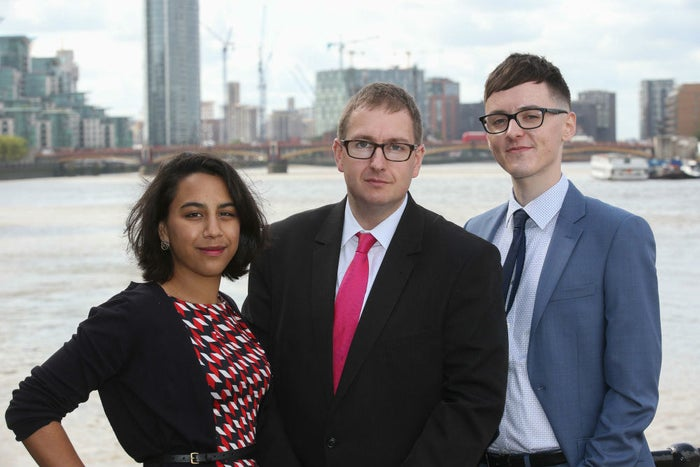 The BrexitCentral launch team, including current editor Jonathan Isaby (centre) and deputy editor Darren Grimes.