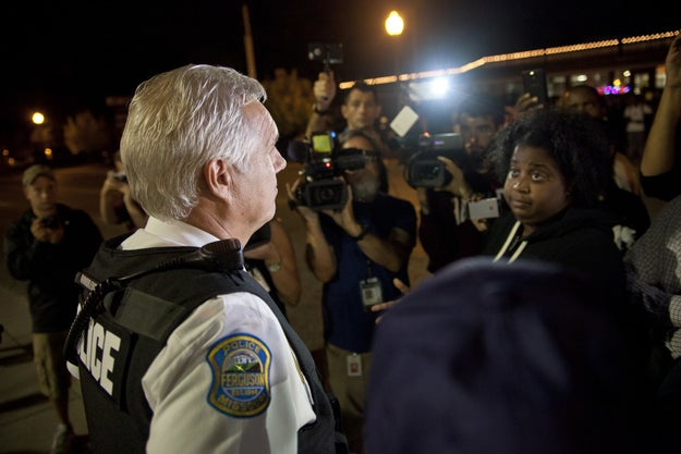 Police address community members and press: