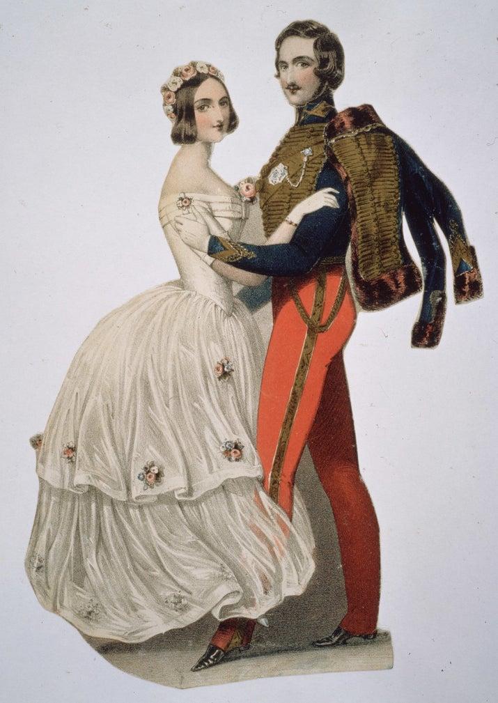 Victoria decidiu usar um vestido branco em seu casamento com o príncipe Albert simplesmente porque gostava da cor. No início, as pessoas ficaram chocadas. Mas, em vinte anos, os vestidos brancos viraram moda e as mulheres de alta classe passaram a usá-los para ostentar sua riqueza. Então você pode usar o que preferir. Victoria fez isso e começou uma moda que durou 180 anos.