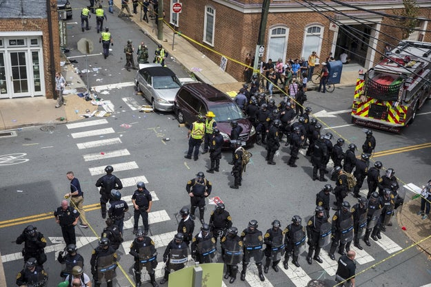 The car crash came after violent scuffles between the opposing groups of demonstrators, which prompted Virginia officials to declare a state of emergency.