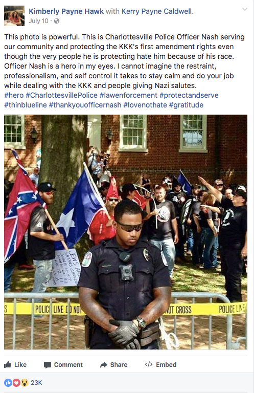 Someone also uploaded the photo to Facebook on July 10 and identified the cop as Officer Nash.