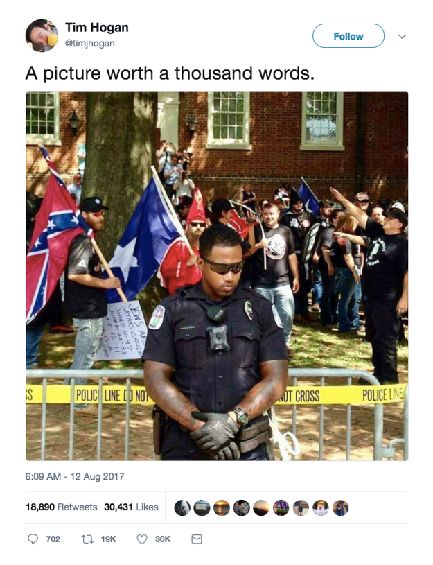 "Tim Hogan, who worked for Hillary Clinton's presidential campaign and is now the National Press Secretary for a Washington, DC, nonprofit, also shared the photo on Saturday with the caption ""a picture worth a thousand words."" It garnered over 30,000 likes before he deleted the original Tweet and acknowledged the photo was from July."