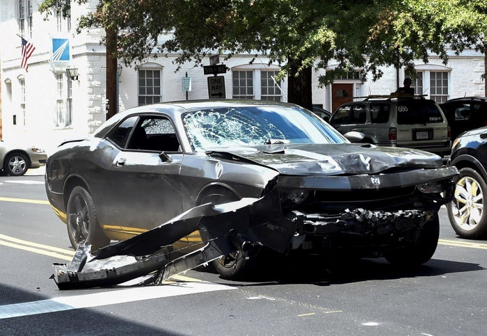 The silver Dodge Charger allegedly driven by James Alex Fields Jr. into a crowd of protesters and other cars that ultimately killed a woman and left more injured.