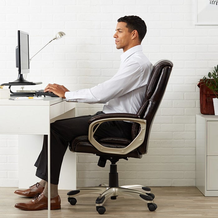 """Promising review: """"First of all, putting this chair together took about 10 minutes. I work at home and spend up to 10 hours daily sitting on this chair. So far, it has provided continuous comfort for my back and my productivity has increased. After eight months of daily use, the cushioning still feels like new!"""" — TY16Price: $109.99. Available in two colors."""