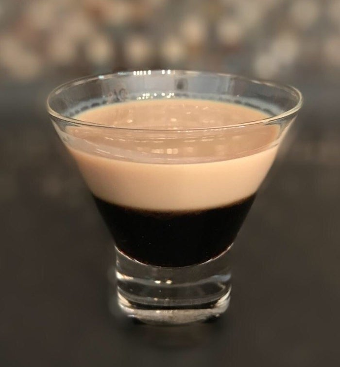 - 1 oz Kahlúa- 1.5 oz Bailey'sTip: Always pour the heaviest first, which in this case is the Kahlúa. Then hold a silver spoon upside down and pour the Bailey's over it. A tad might sneak down but it will quickly rise up.