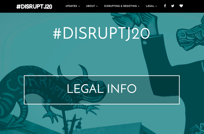 Home page of www.disruptj20.org