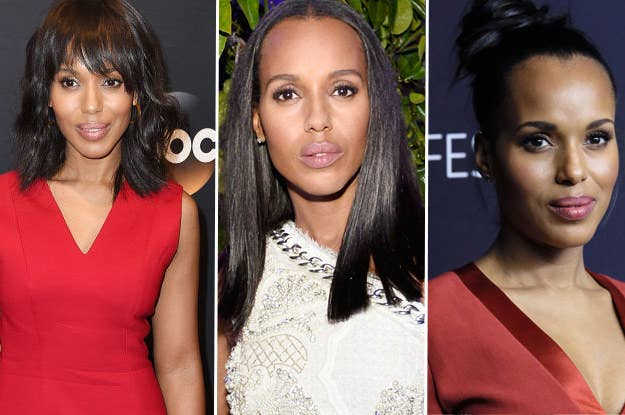 Kerry washington ditched the weave and her real hair is actually when shes not playing olivia pope on scandal some of her most popular dos are lobs wavy and straight and messy chic buns pmusecretfo Choice Image