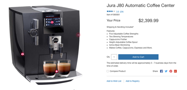 Once you're registered, go click crazy!!! You can select from Costco's top picks, like this cappuccino coffee maker: