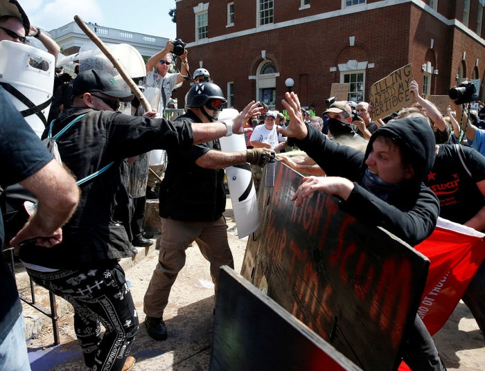 White supremacists clash with counterprotesters at a rally in Charlottesville, Virginia.