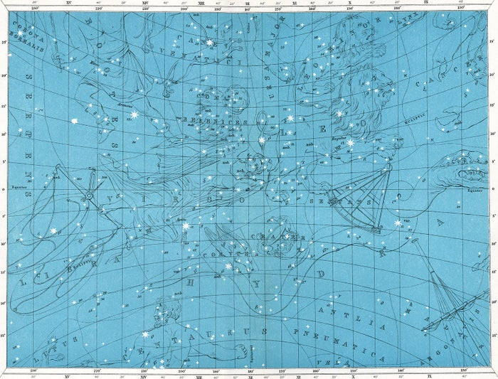 A 1922 star map of the constellations Leo, Virgo, Hydra, Libra, Sextans, Leo Minor, and Boötes, printed and published by W. & A.K. Johnston of Edinburgh.