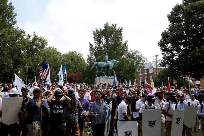 White supremacists gather under a statue of Robert E. Lee during a rally in Charlottesville, Virginia.