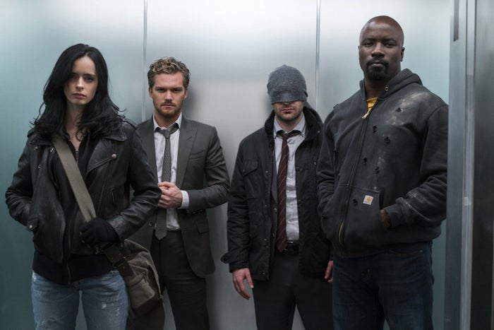 Krysten Ritter, Finn Jones, Charlie Cox, and Mike Colter in The Defenders.