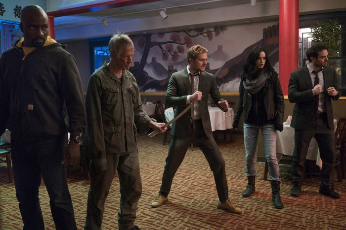 From left: Colter, Scott Glenn, Jones, Ritter, and Cox in The Defenders.