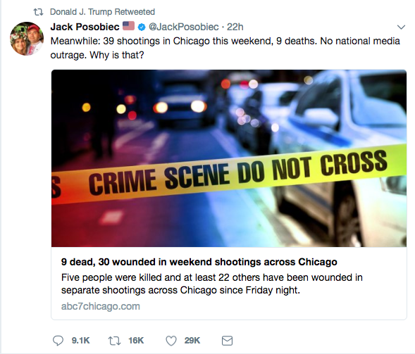 "Late Monday night, President Trump retweeted Jack Posobiec, a notorious alt-right personality, known for organizing the DeploraBall inauguration party. The tweet (it remains on the president's timeline) discusses shooting deaths in Chicago over the weekend, noting ""no national media outrage? Why is that?"":"