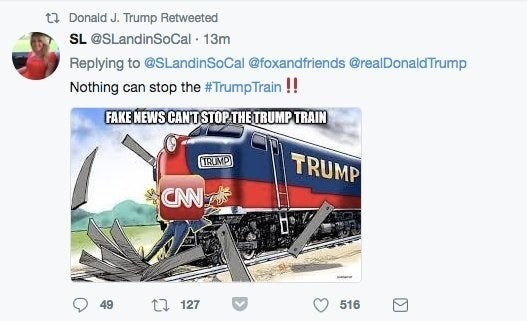 Yes, three days after a protester was killed when a car driven by a Trump supporter slammed into a crowd of people, the president promoted an image showing a train crashing into a CNN reporter. Trump deleted this retweet shortly after posting.