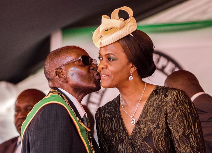 President Robert Mugabe with his wife and first lady Grace Mugabe.