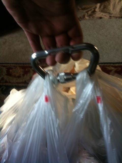 Do you carry your groceries up multiple flights of stairs via carabiner, because you're too lazy to make multiple trips?