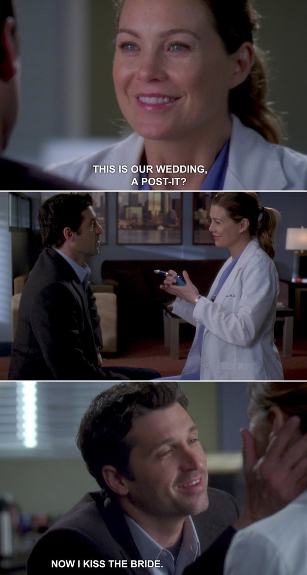 When Derek and Meredith got married via a Post-It note on Grey's Anatomy.