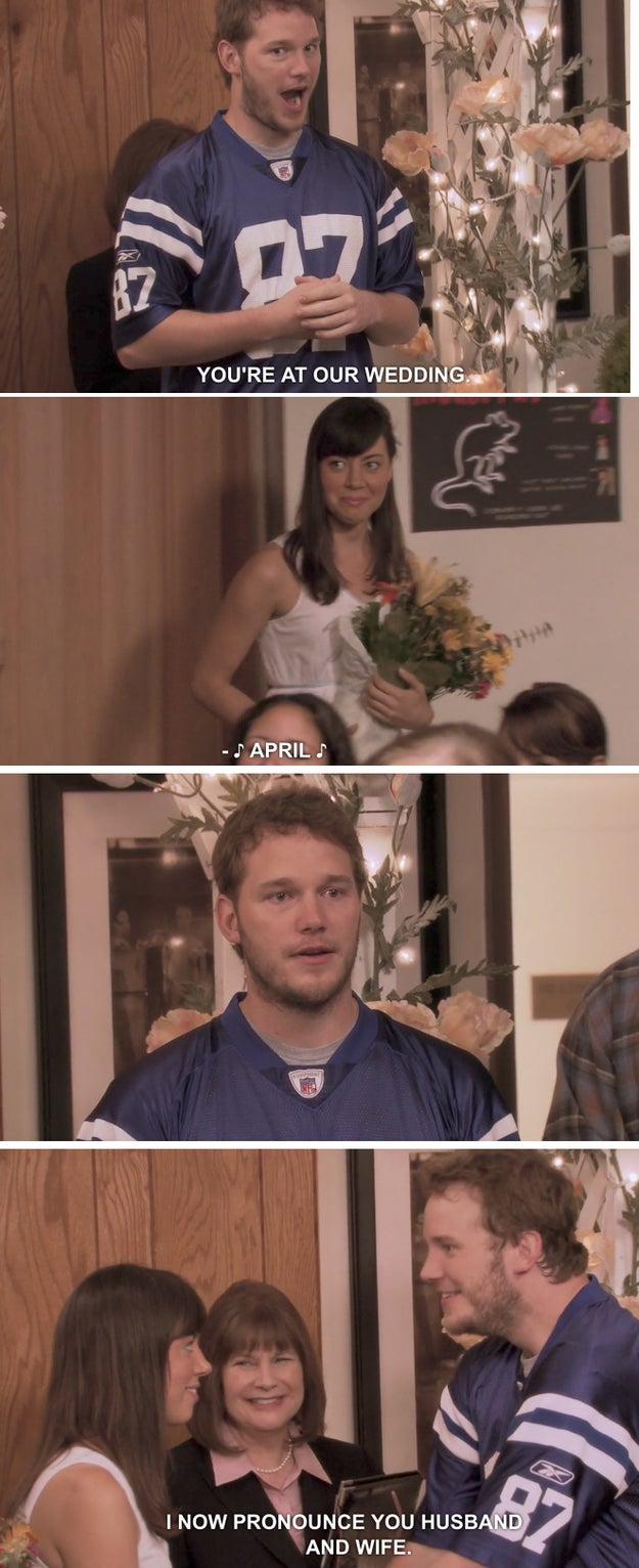 When April and Andy threw their surprise wedding on Parks and Recreation.