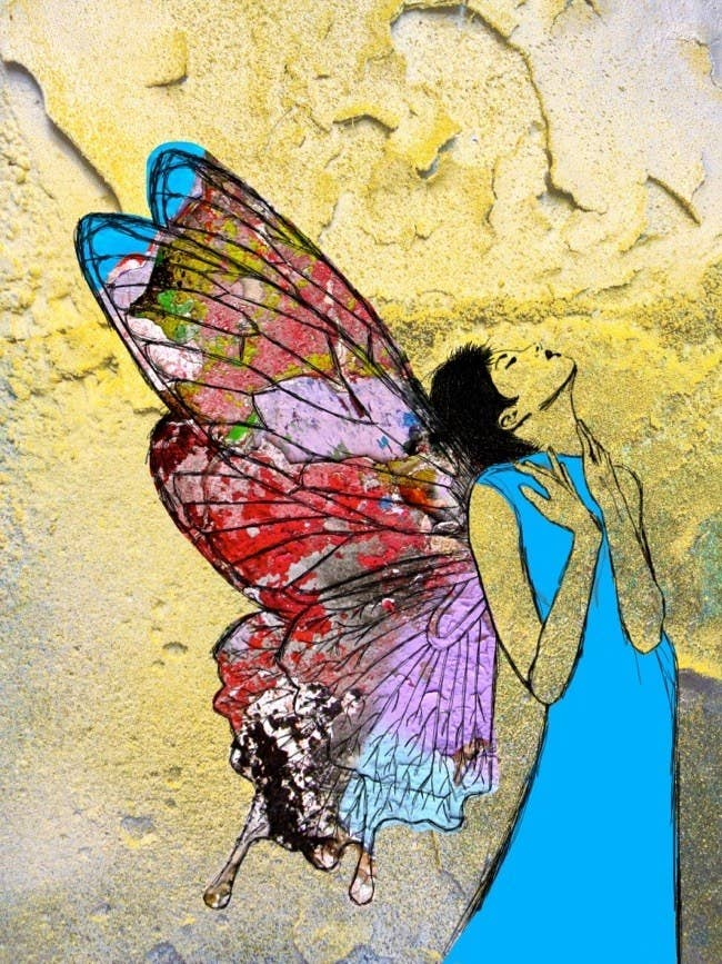 The butterfly in me finally emerged; now I'm free and can fly! [Drawing with collage variations on Berlin Wall photos, 2017. ©LigiaFascioni]