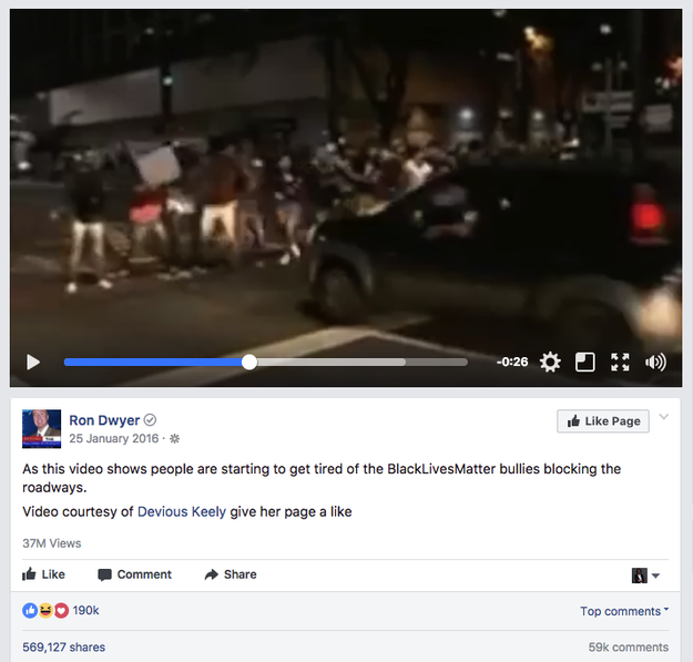 But other extreme-right websites have been posting videos of cars driving at protesters for months. One video, posted in January 2016, went viral, garnering 37 million views and 569,000 shares on Facebook.
