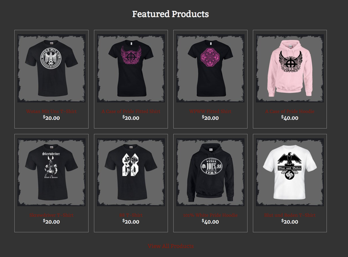 A screenshot of some the product offerings from vinlandclothing.com, which was banned from using Apple Pay and PayPal for selling Nazi apparel.