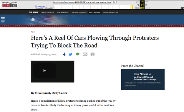 "The post, published in January on the Fox Nation vertical, was titled, ""Here's A Reel Of Cars Plowing Through Protesters Trying To Block The Road."""