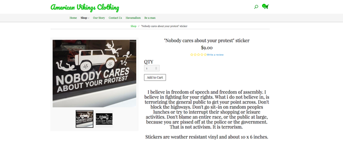 A screenshot of a bumper sticker being sold on americanvikings.com, which was banned from using Apple Pay on Wednesday.