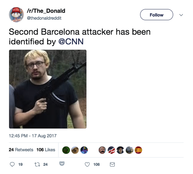 This is not a photo of one of the attackers, it's comedian Sam Hyde.
