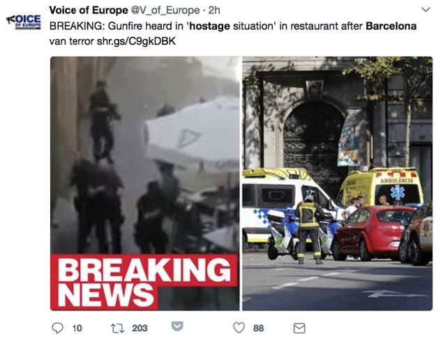 There was no hostage situation in Barcelona as early reports suggested.