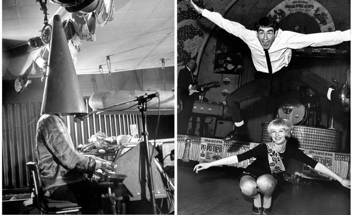 "Left: Nightclub entertainer Don Hornsby wears a megaphone over his head while providing the tunes at a party in April 1950. Right: A London couple demonstrates ""new"" dance moves at the Twist and Beat Championships of Great Britain in Dec. 1965."
