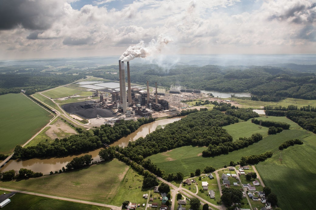 An aerial view of the coal-fired power plant.